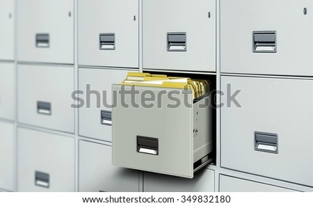 File cabinet full with document files - stock photo