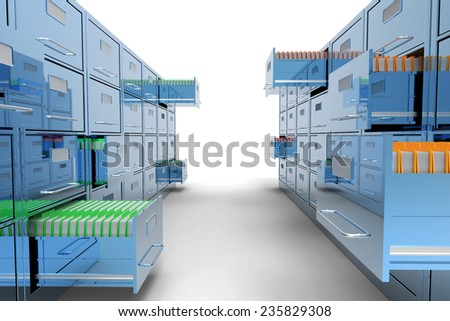 File cabinet on white background - stock photo