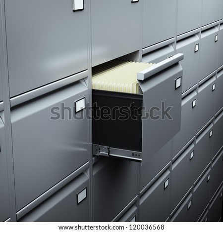 File cabinet with documents - stock photo