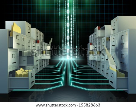 File cabinets in a digital space. Digital illustration.