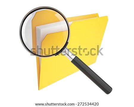 File. 3D. Search Folder - stock photo