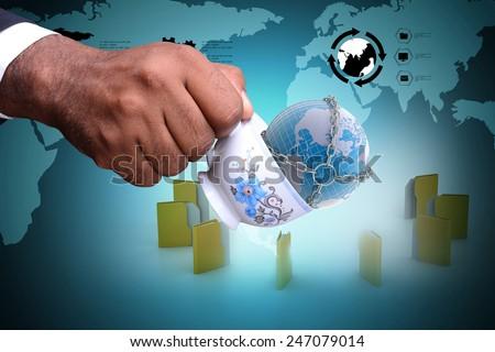 File folder around the tea cup and earth globe - stock photo