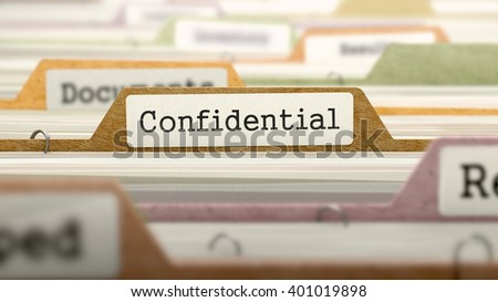File Folder Labeled as Confidential in Multicolor Archive. Closeup View. Blurred Image. 3D Render. - stock photo