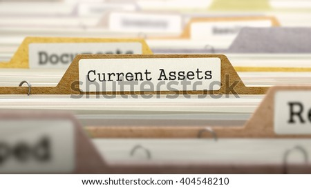File Folder Labeled as Current Assets in Multicolor Archive. Closeup View. Blurred Image. 3D Render.