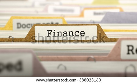 File Folder Labeled as Finance in Multicolor Archive. Closeup View. Blurred Image. 3D Render.