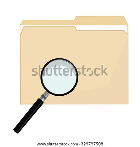 File folder raster icon and magnifying glass icon symbol raster, file search,  - stock photo