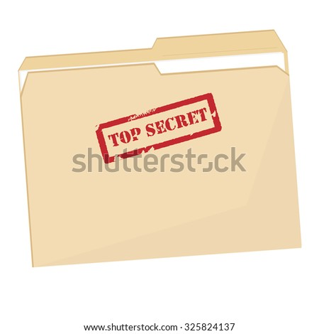 File folder with red rubber  stamp top secret raster isolated, confidential, private information
