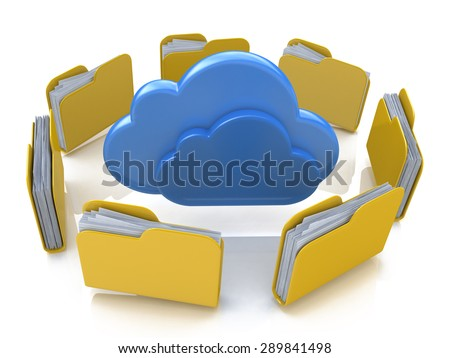 File folders around clouds  - stock photo