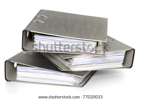 File folders in front of white background - stock photo