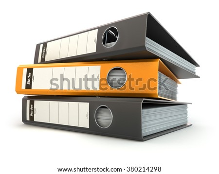 File folders or ring binders full with office documents isolated on white. 3d - stock photo