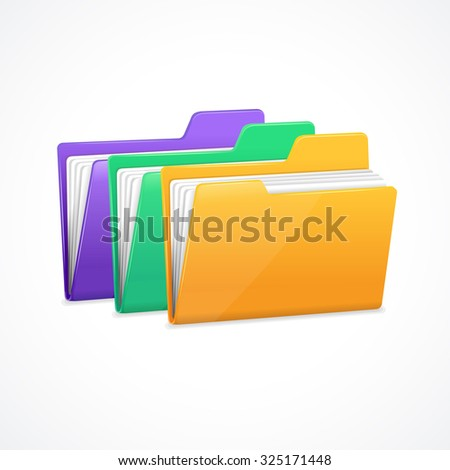 File Folders Set. Filing and archiving data. illustration - stock photo