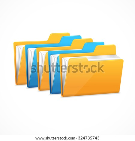 File Folders Set. The character data storage. illustration