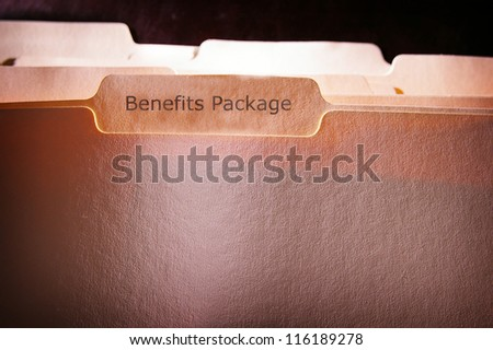 file folders with Benefits Package text - stock photo