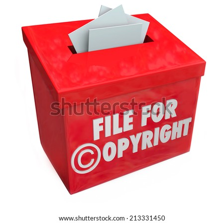 File for Copyright protection 3d words on a box for submitting paperwork and documents for intellectual property protection - stock photo