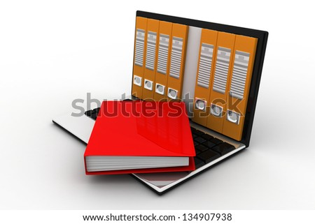 file in database - laptop with ring binders - stock photo