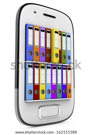 file in database - smartphone with ring binders