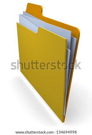 FILE IN FOLDER - 3D - stock photo