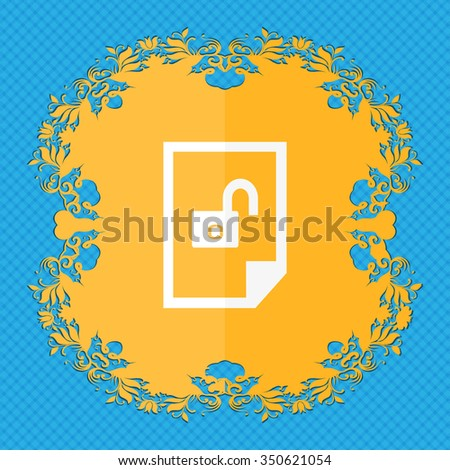 File locked icon sign. Floral flat design on a blue abstract background with place for your text. illustration - stock photo