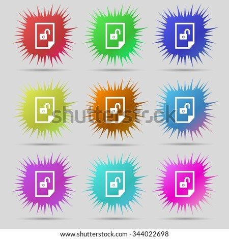 File locked icon sign. Nine original needle buttons. illustration. Raster version - stock photo