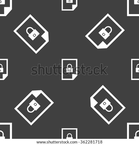 File locked icon sign. Seamless pattern on a gray background. illustration - stock photo