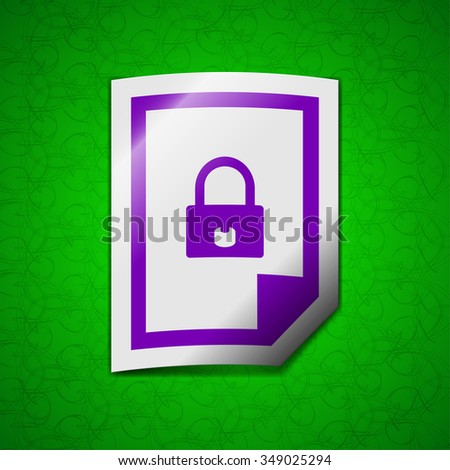 file locked icon sign. Symbol chic colored sticky label on green background. illustration - stock photo