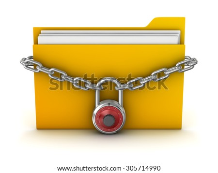 File Protection , This is a computer generated and 3d rendered picture. - stock photo