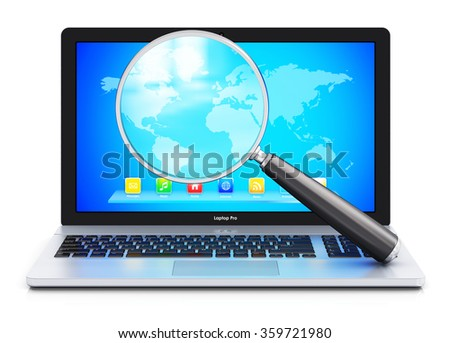 File search and internet web communication technology business concept: magnifying glass or magnifier zoom lens and metal laptop notebook computer PC isolated on white background with reflection - stock photo