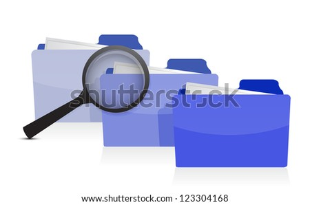 File search concept: folders and magnifying glass illustration design - stock photo
