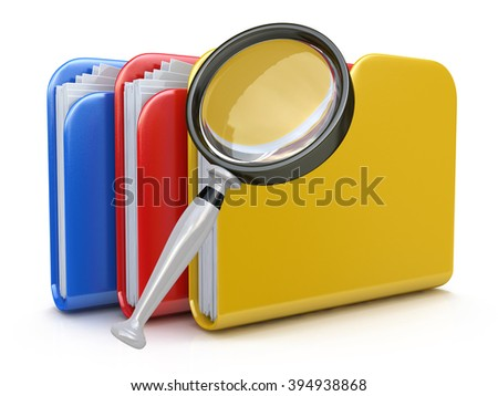 File search concept: folders and magnifying glass in the design of information related to computer technology - stock photo