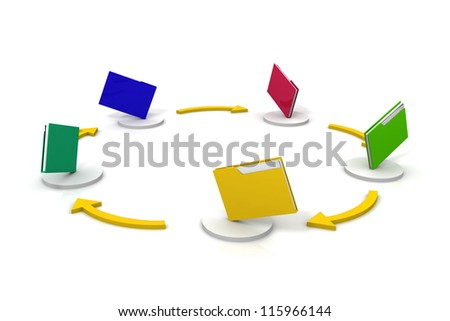 File sharing concept. 3d image - stock photo