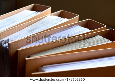 File Stack, file folder close up for background.