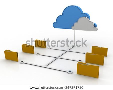 File storage, sharing, in cloud computing - stock photo