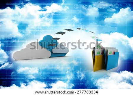 File storage, sharing, in cloud computing - stock photo