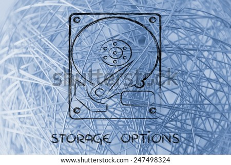 file storage solutions: hard disks - stock photo