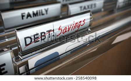 File tab with focus on savings. Conceptual image for illustration of debt vs savings - stock photo