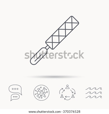 File tool icon. Carpenter equipment sign. Global connect network, ocean wave and chat dialog icons. Teamwork symbol. - stock photo
