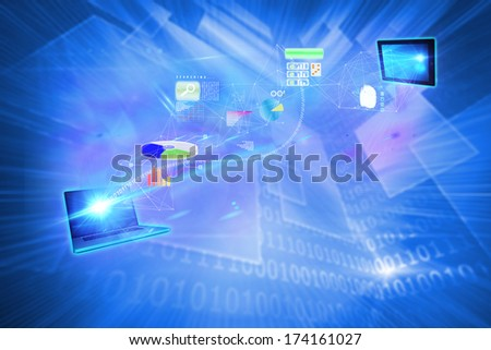 File transfer background against shiny technological background
