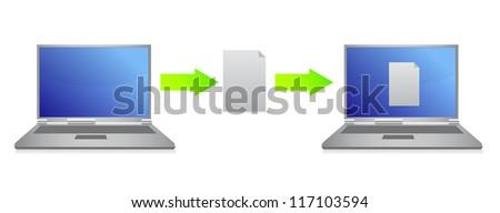 file transfer illustration design over white background - stock photo