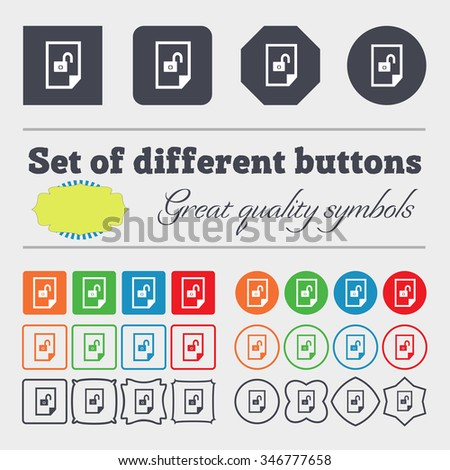 File unlocked icon sign. Big set of colorful, diverse, high-quality buttons. illustration - stock photo