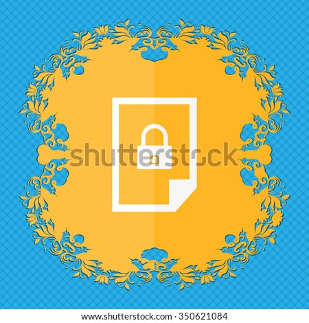 File unlocked icon sign. Floral flat design on a blue abstract background with place for your text. illustration - stock photo