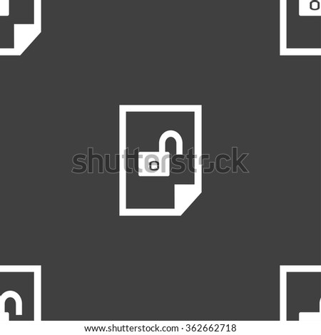 File unlocked icon sign. Seamless pattern on a gray background. illustration - stock photo