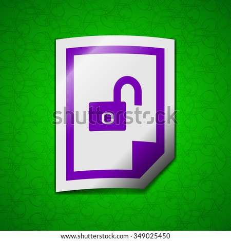 File unlocked icon sign. Symbol chic colored sticky label on green background. illustration - stock photo