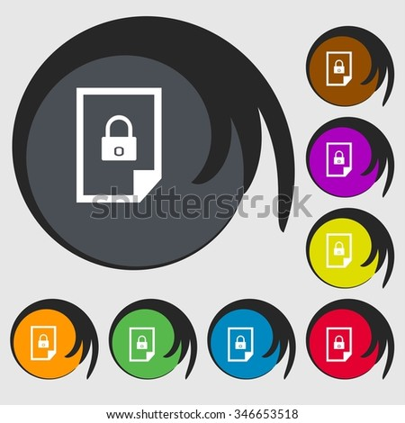 File unlocked icon sign. Symbols on eight colored buttons. illustration - stock photo