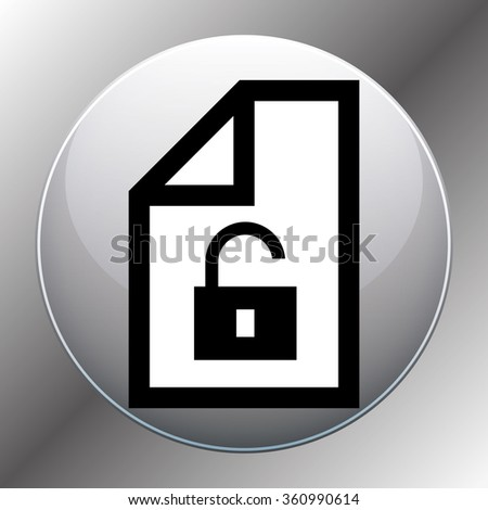 File unlocked icon symbol on a wooden background. Vector illustration - stock photo