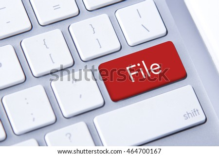 File word in red keyboard buttons