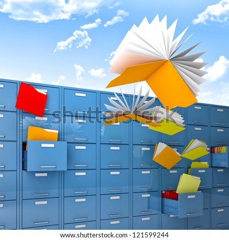 files and folder fly like butterfly - stock photo