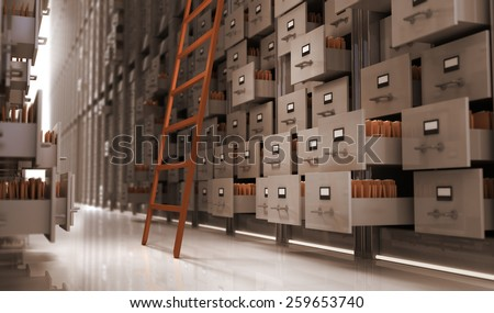 Files in the storage space - stock photo