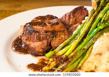 Filet mignon steak on a plate - stock photo