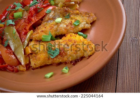 Filetto di rombo con verdurine - Italian  fried flounder with vegetable