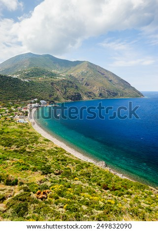 Filicudi island port bird-view, Aeolian Islands, Sicily, Italy. - stock photo